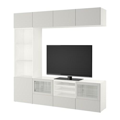 best tv komb mit vitrinent ren wei lappviken hellgrau klarglas schubladenschiene. Black Bedroom Furniture Sets. Home Design Ideas