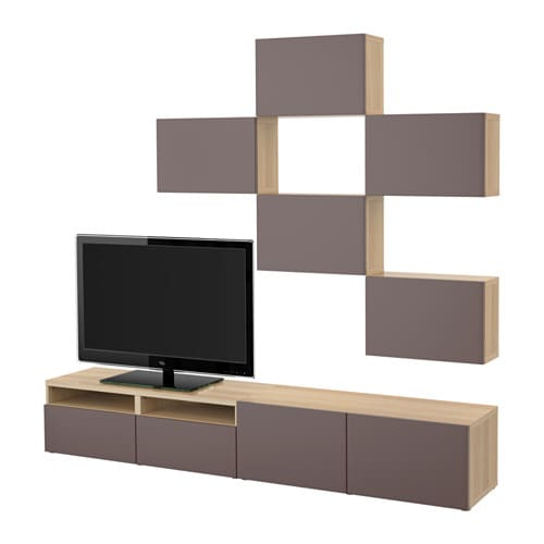 best tv m bel kombination eicheneffekt wei lasiert valviken dunkelbraun schubladenschiene. Black Bedroom Furniture Sets. Home Design Ideas