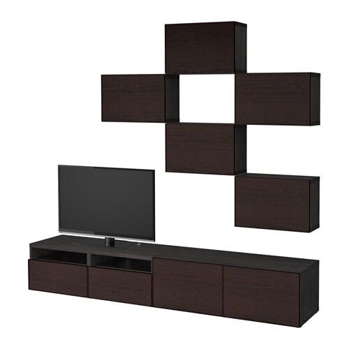 best tv m bel kombination schwarzbraun inviken schwarzbraun schubladenschiene drucksystem. Black Bedroom Furniture Sets. Home Design Ideas