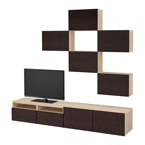 best tv m bel kombination eicheneffekt wei lasiert. Black Bedroom Furniture Sets. Home Design Ideas