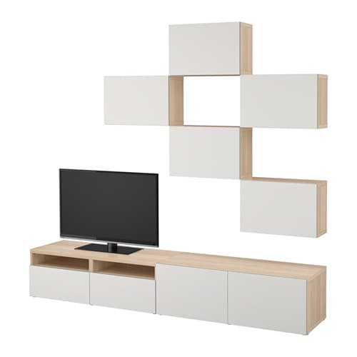 best tv m bel kombination eicheneffekt wei lasiert lappviken hellgrau schubladenschiene. Black Bedroom Furniture Sets. Home Design Ideas