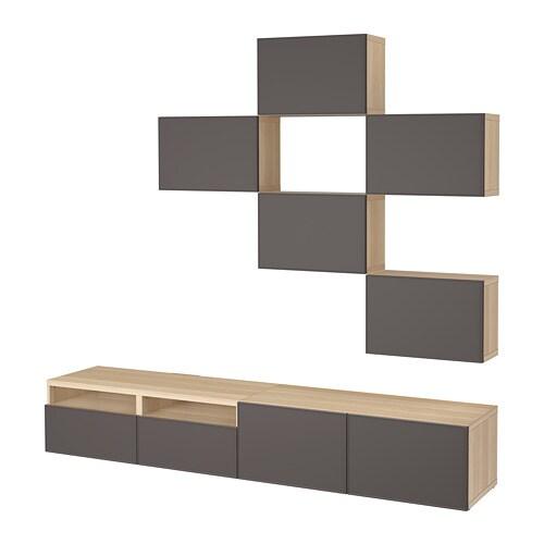 best tv m bel kombination eicheneffekt wei lasiert grundsviken dunkelgrau. Black Bedroom Furniture Sets. Home Design Ideas