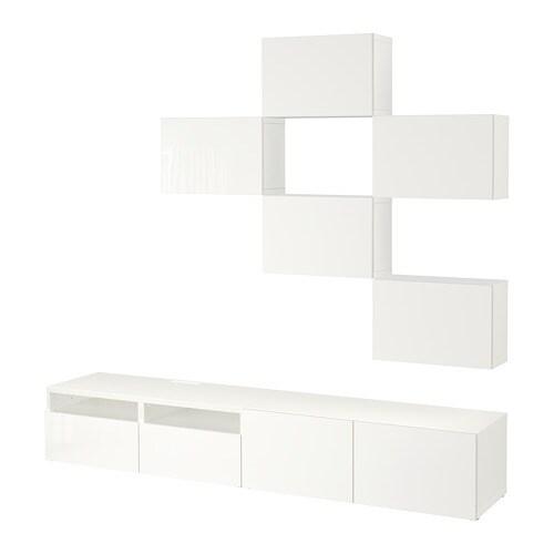 best tv m bel kombination wei selsviken hochglanz wei schubladenschiene drucksystem ikea. Black Bedroom Furniture Sets. Home Design Ideas