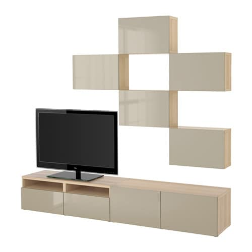best tv m bel kombination eichenachbildung wei las selsviken hochglanz beige. Black Bedroom Furniture Sets. Home Design Ideas