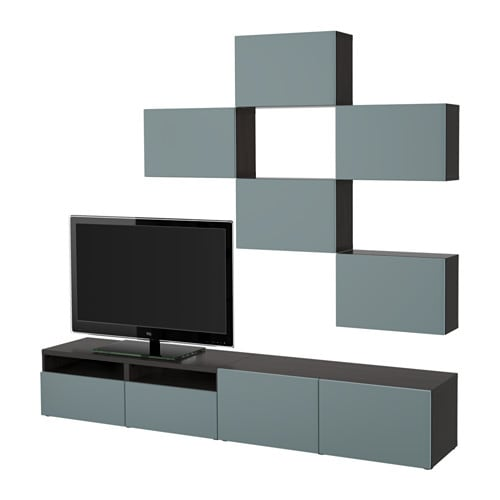 best tv m bel kombination schwarzbraun valviken graut rkis schubladenschiene drucksystem. Black Bedroom Furniture Sets. Home Design Ideas
