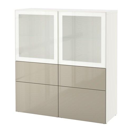 best vitrine wei selsviken hochgl beige frostgl schubladenschiene sanft schlie end ikea. Black Bedroom Furniture Sets. Home Design Ideas