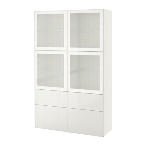 Ikea Besta Vitrine bestå vitrine weiß selsviken hochglanz frostglas weiß
