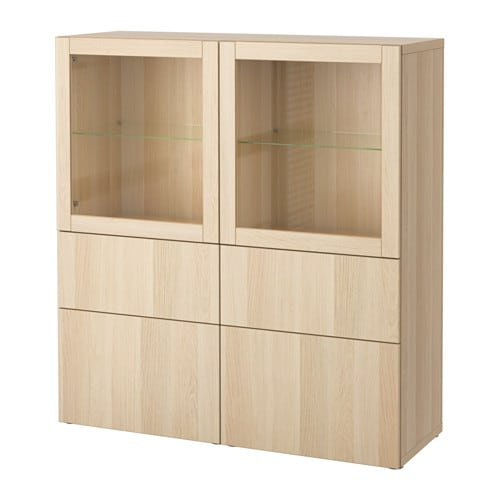 best vitrine lappviken sindvik wei las eichenachb klargl schubladenschiene sanft. Black Bedroom Furniture Sets. Home Design Ideas