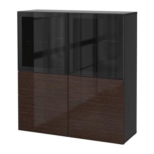 best vitrine schwarzbraun selsviken hochglanz klarglas. Black Bedroom Furniture Sets. Home Design Ideas