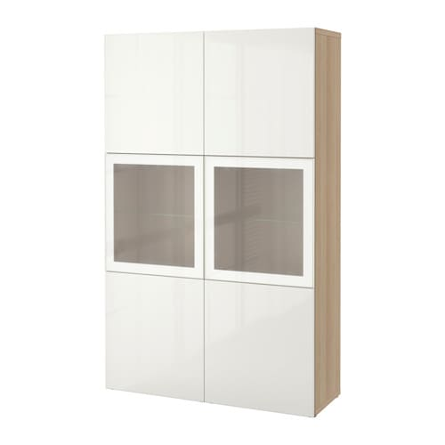 best vitrine eichenachbildg wei las selsviken hochglanz frostglas wei ikea. Black Bedroom Furniture Sets. Home Design Ideas