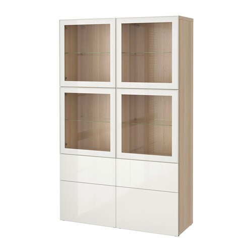 best vitrine eichenachbildg wei las selsviken hochglanz klarglas wei schubladenschiene. Black Bedroom Furniture Sets. Home Design Ideas