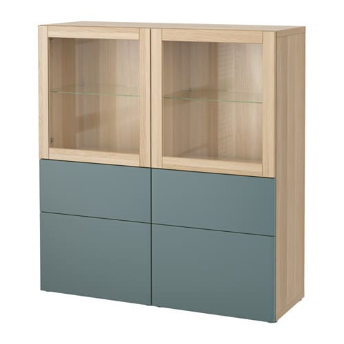 best vitrine eicheneffekt wei lasiert valviken klargl gra t rk schubladenschiene. Black Bedroom Furniture Sets. Home Design Ideas