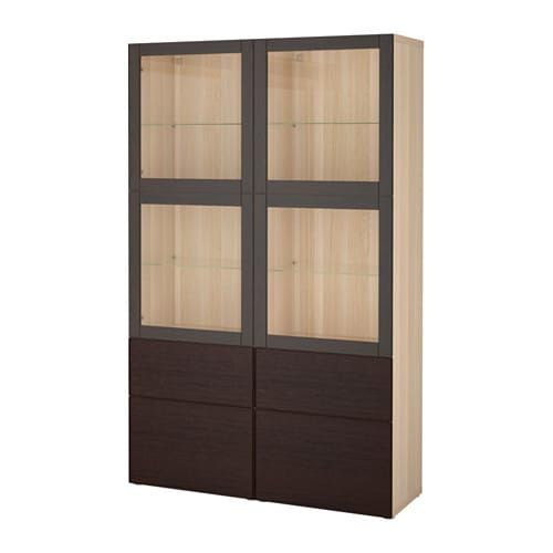best vitrine eicheneffekt wei lasiert sindvik inviken klarglas sbr schubladenschiene. Black Bedroom Furniture Sets. Home Design Ideas