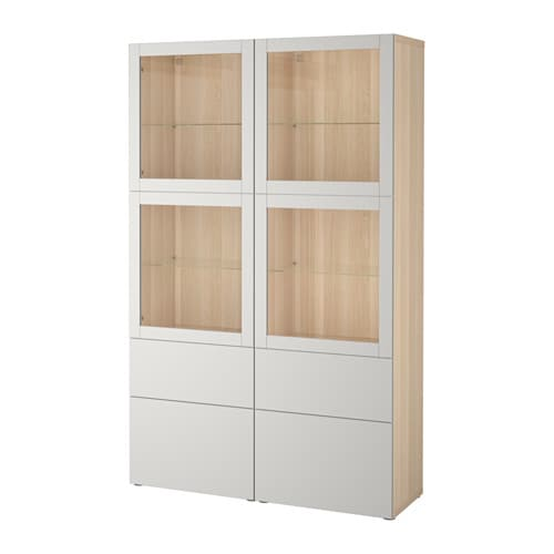 best vitrine eicheneffekt wei lasiert sindvik lappviken klarglas h 39 grau schubladenschiene. Black Bedroom Furniture Sets. Home Design Ideas