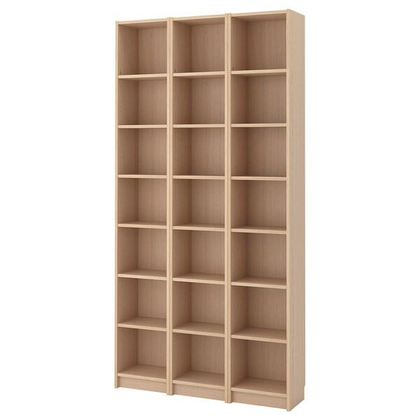 BILLY Bücherregal, Eichenfurnier weiß lasiert, 120x28x237 cm