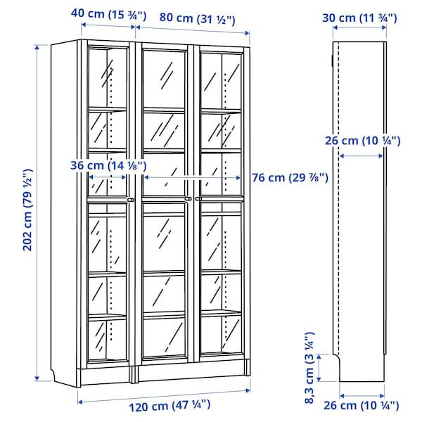 BILLY / OXBERG Bücherregal mit Glastüren, Eichenfurnier weiß lasiert, 120x30x202 cm