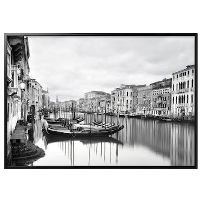 BJÖRKSTA Gerahmtes Bild, Canal Grande/schwarz, 200x140 cm