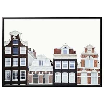 BJÖRKSTA Gerahmtes Bild, Gebäude in Amsterdam/schwarz, 200x140 cm