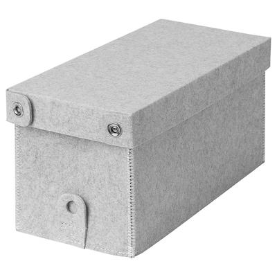 BLÄDDRA Kasten mit Deckel, hellgrau, 15x38x16 cm