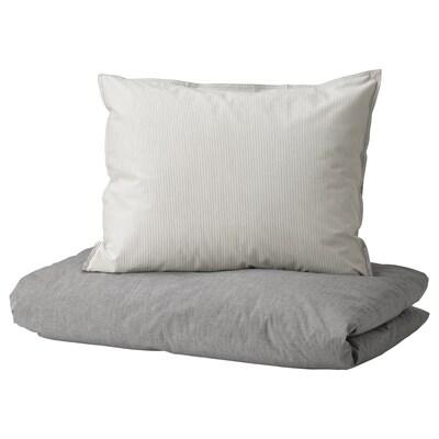 BLÅVINDA Bettwäscheset, 3-teilig grau 200 Quadratzoll 2 Stück 220 cm 240 cm 50 cm 60 cm