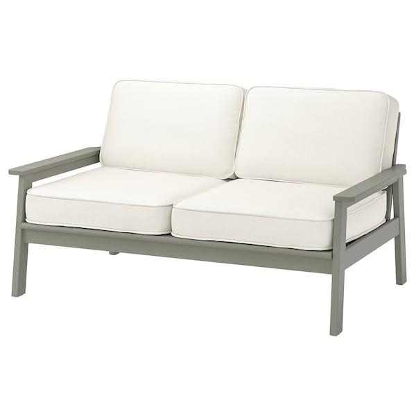 BONDHOLMEN 2er-Sofa/außen, grau las./Järpön/Duvholmen weiß, 139x81x89 cm