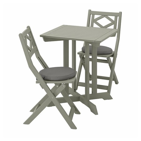 BONDHOLMEN Tisch+2 Klappstühle/außen, grau las.