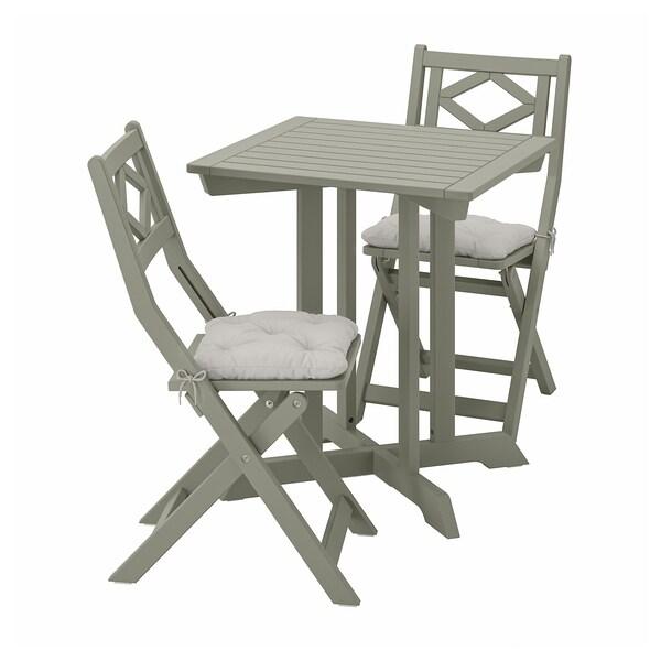 BONDHOLMEN Tisch+2 Klappstühle/außen, grau las./Kuddarna grau