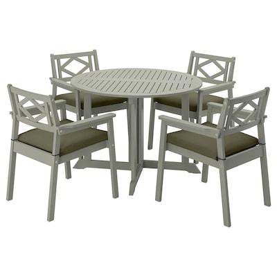 BONDHOLMEN Tisch+4 Armlehnstühle/außen, grau las./Frösön/Duvholmen dunkles Beigegrün