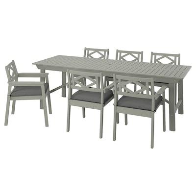 BONDHOLMEN Tisch+6 Armlehnstühle/außen, grau las./Frösön/Duvholmen dunkelgrau