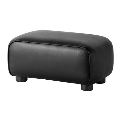 Black Leather Footstool IKEA