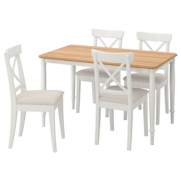 danderyd / ingolf tisch und 4 stühle - weiß/hallarp beige