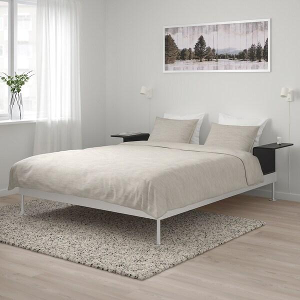 Delaktig Bettgestell Mit 2 Ablagen Aluminium Schwarz Ikea Osterreich