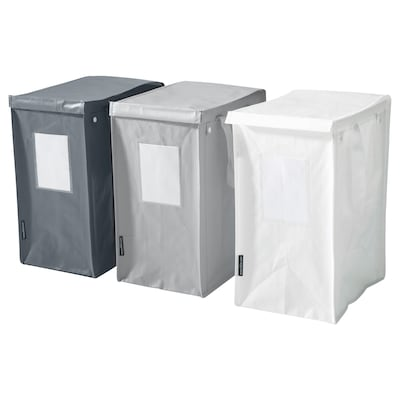 DIMPA Abfalltrennbeutel, weiß/dunkelgrau/hellgrau, 22x35x45 cm/35 l