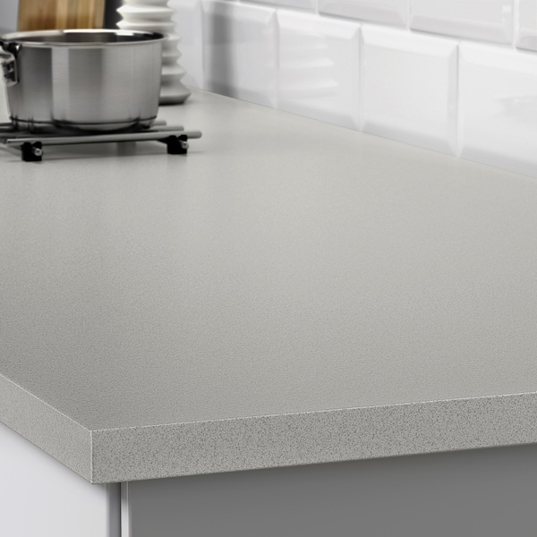 EKBACKEN Maßarbeitsplatte, hellgrau Steinmuster/Laminat, 63.6-125x2.8 cm