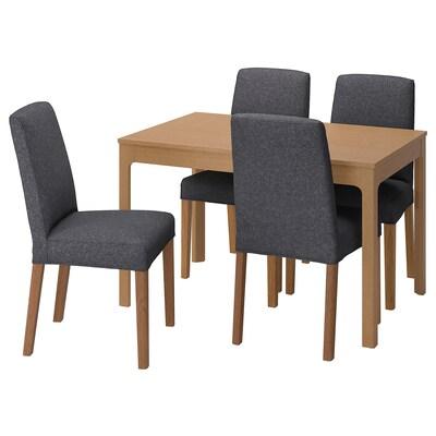 EKEDALEN / BERGMUND Tisch und 4 Stühle, Eiche/Gunnared mittelgrau, 120/180 cm