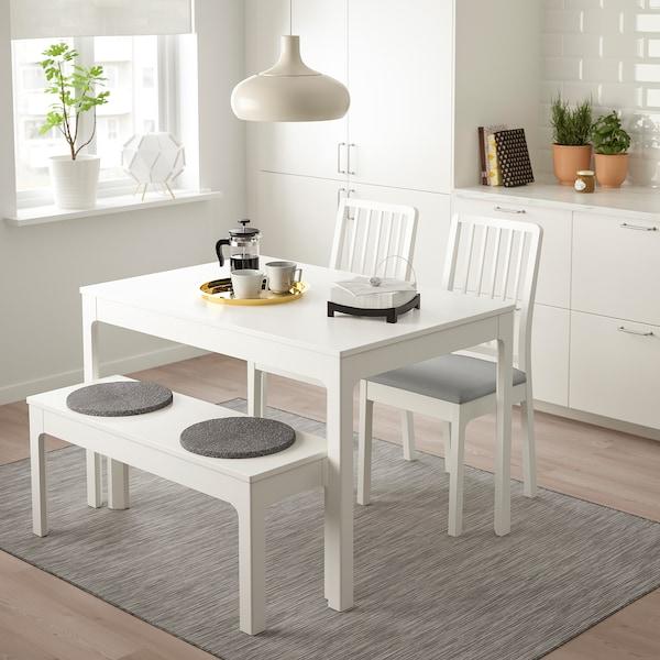 EKEDALEN / EKEDALEN Tisch, 2 Stühle + Bank, weiß/Orrsta hellgrau, 120/180 cm