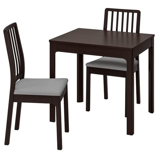 EKEDALEN Tisch und 2 Stühle, dunkelbraun/Orrsta hellgrau, 80/120 cm