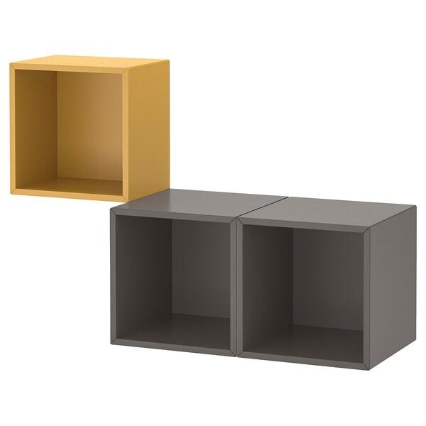 EKET Schrankkombination für Wandmontage, goldbraun/dunkelgrau, 105x35x70 cm