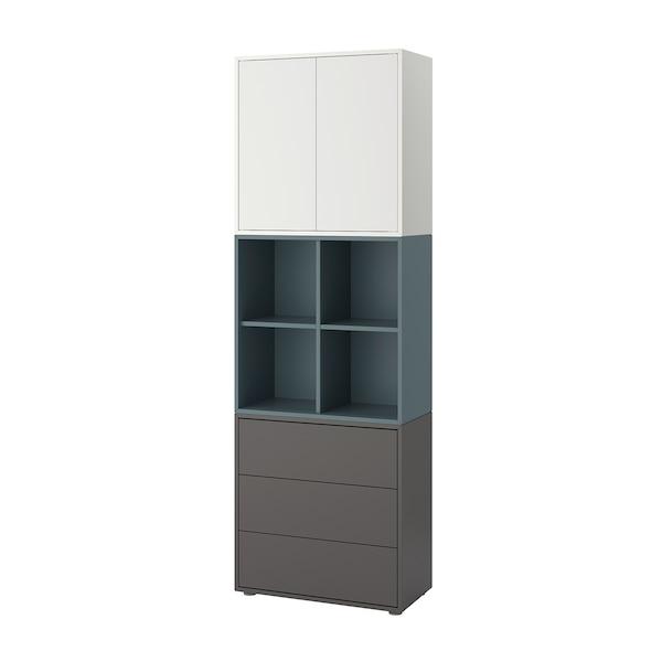 EKET Schrankkombination/Füße, weiß/grautürkis dunkelgrau, 70x35x212 cm