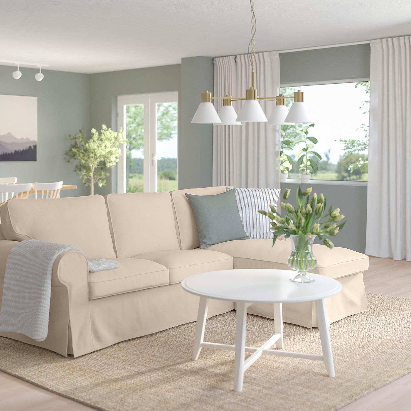 Ektorp 3er Sofa Mit Recamiere Hallarp Beige Ikea Osterreich