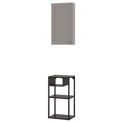 ENHET Aufbewkombi für Wand, anthrazit/grau Rahmen, 40x30x150 cm