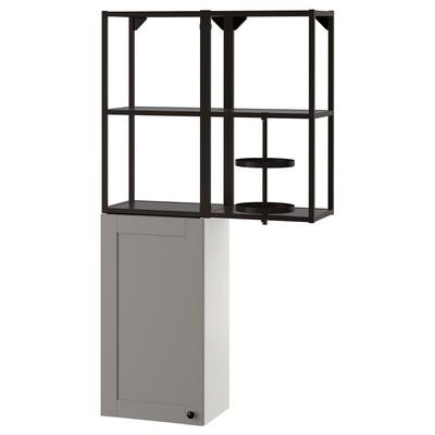 ENHET Aufbewkombi für Wand, anthrazit/grau Rahmen, 80x32x150 cm
