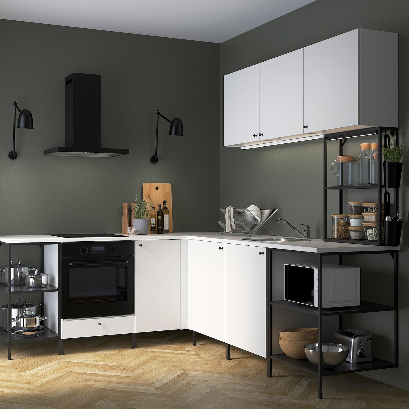 ENHET Eckküche - anthrazit/weiß - IKEA Österreich
