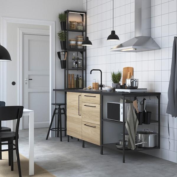 ENHET Küche, anthrazit/Eichenachbildung, 243x63.5x241 cm