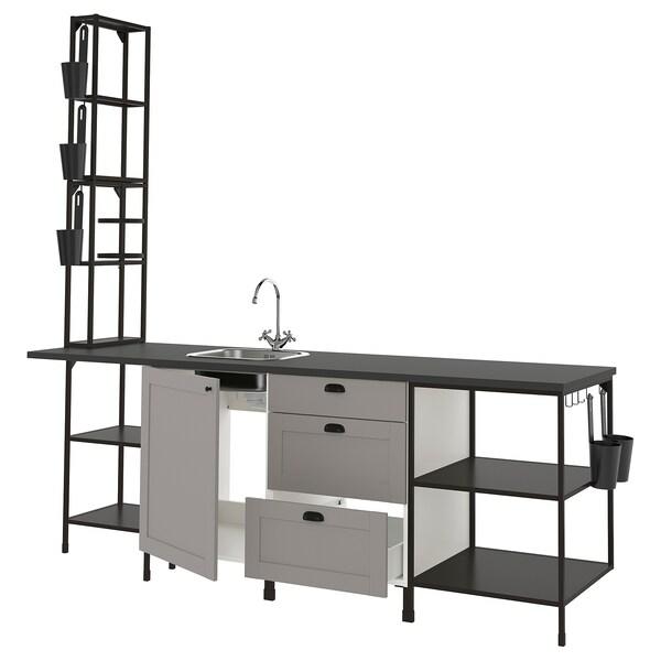 ENHET Küche, anthrazit/grau Rahmen, 243x63.5x241 cm