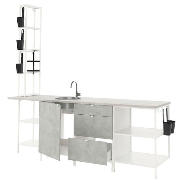 ENHET Küche, weiß/Betonmuster, 243x63.5x241 cm