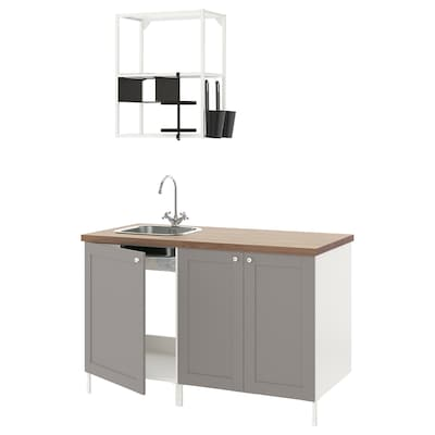 ENHET Küche, weiß/grau Rahmen, 143x63.5x222 cm