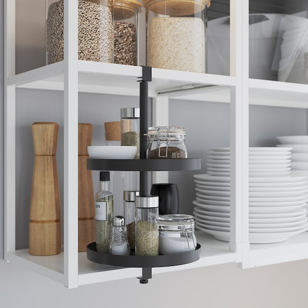 ENHET Küche, weiß/grau Rahmen, 243x63.5x241 cm