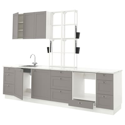 ENHET Küche, weiß/grau Rahmen, 323x63.5x241 cm