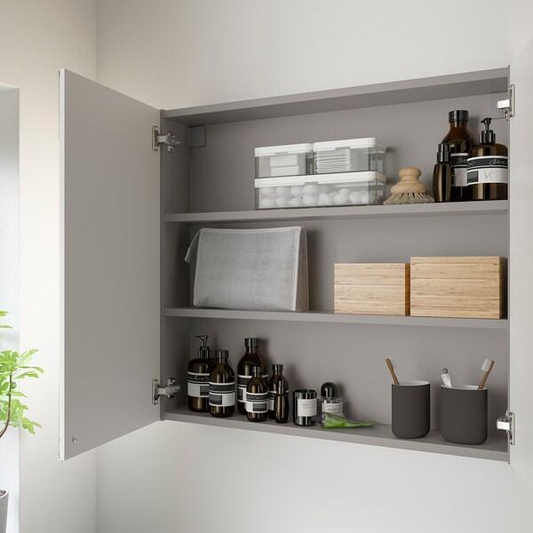 ENHET Spiegelschrank 2 Türen, grau, 80x15x75 cm